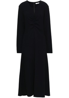 Tibi Woman Ruched Crepe Midi Dress Black