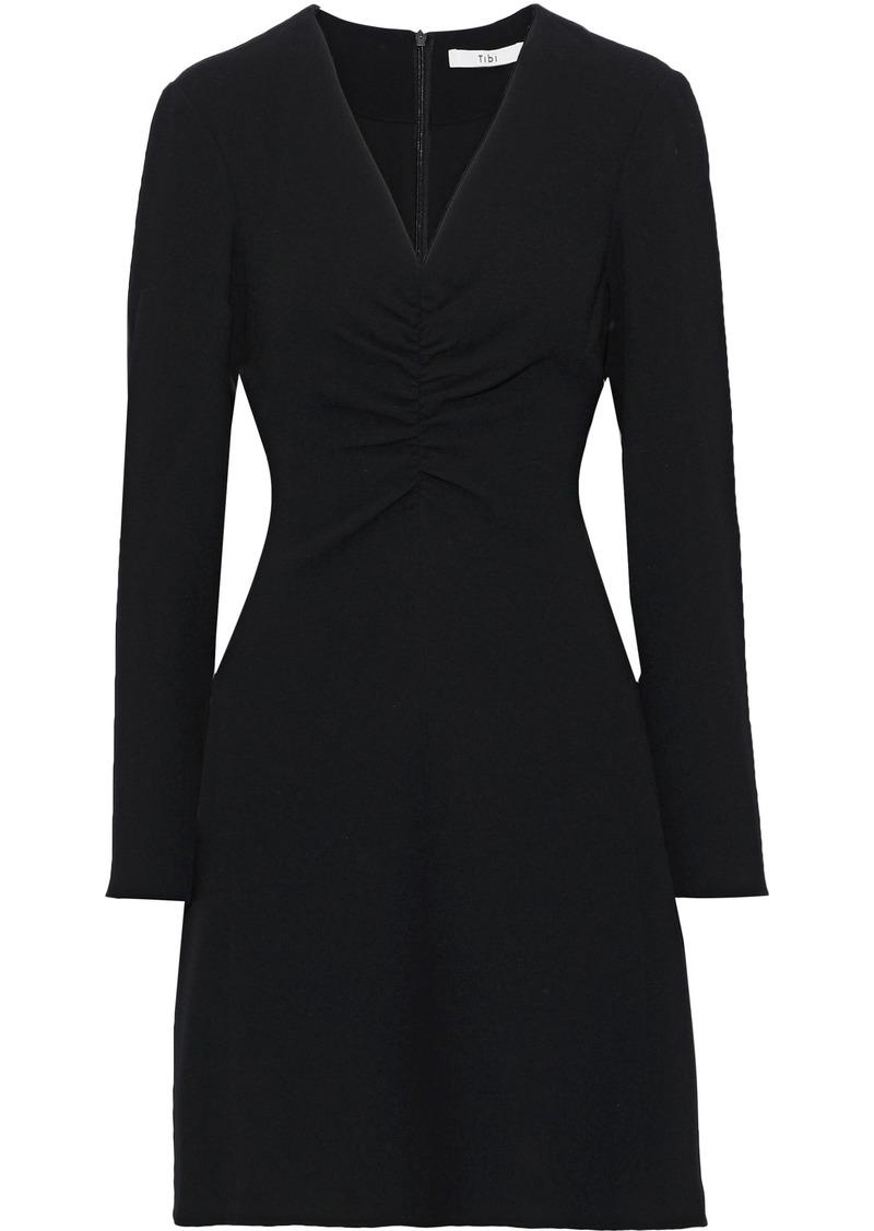 Tibi Woman Ruched Stretch-crepe Mini Dress Black