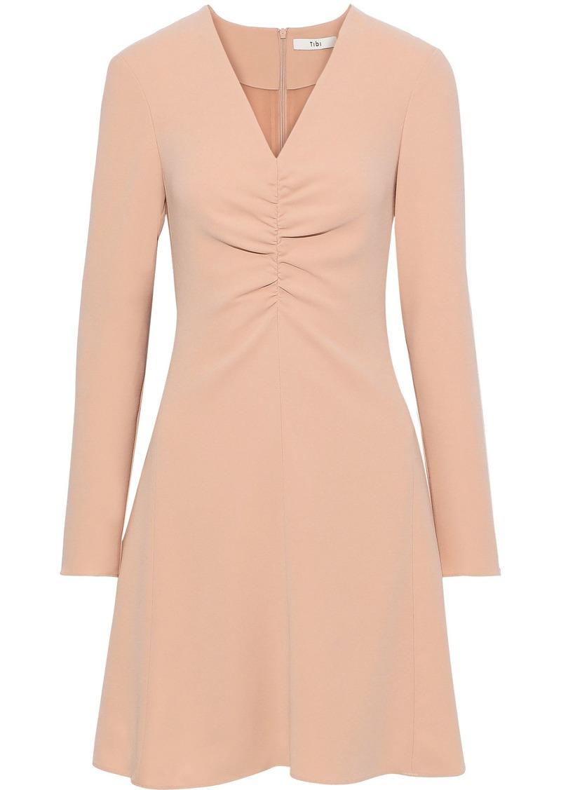 Tibi Woman Ruched Stretch-crepe Mini Dress Blush