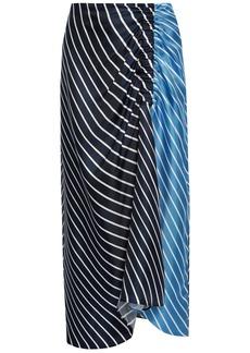 Tibi Woman Ruched Striped Silk-twill Midi Skirt Navy