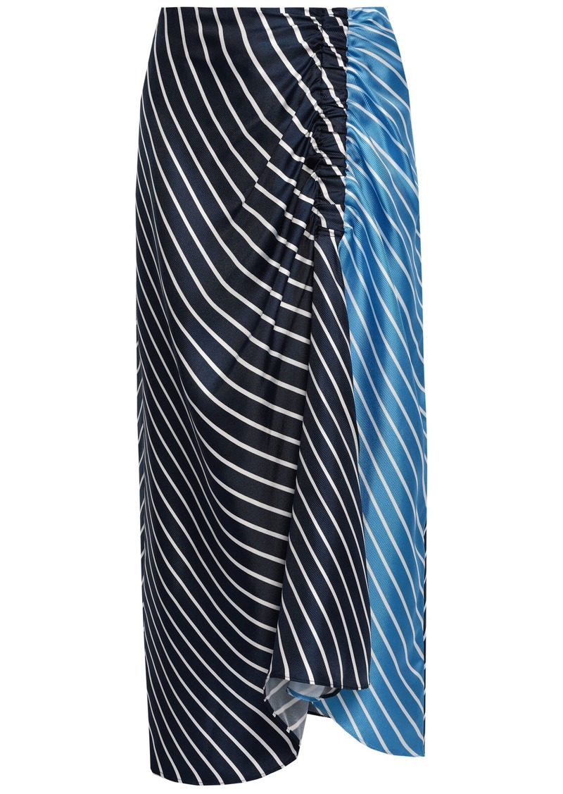 Tibi Woman Ruched Striped Silk-twill Midi Skirt Navy