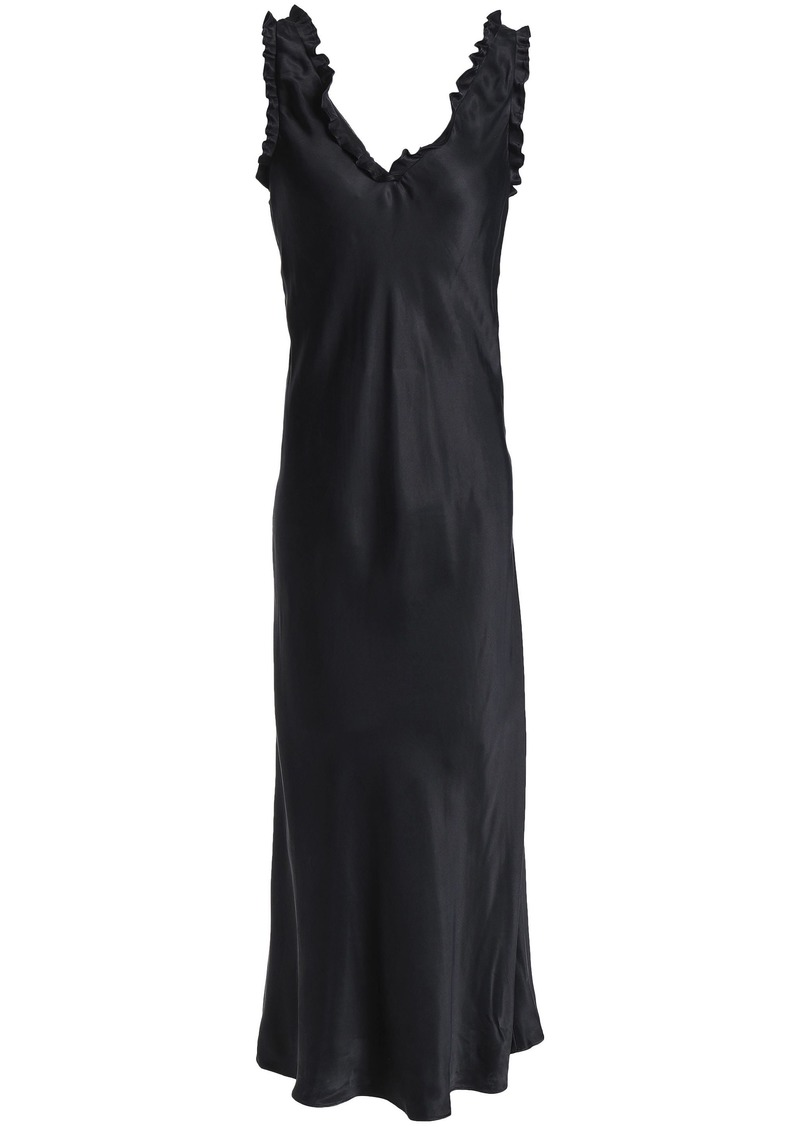Tibi Woman Ruffle-trimmed Washed-jersey Maxi Dress Black