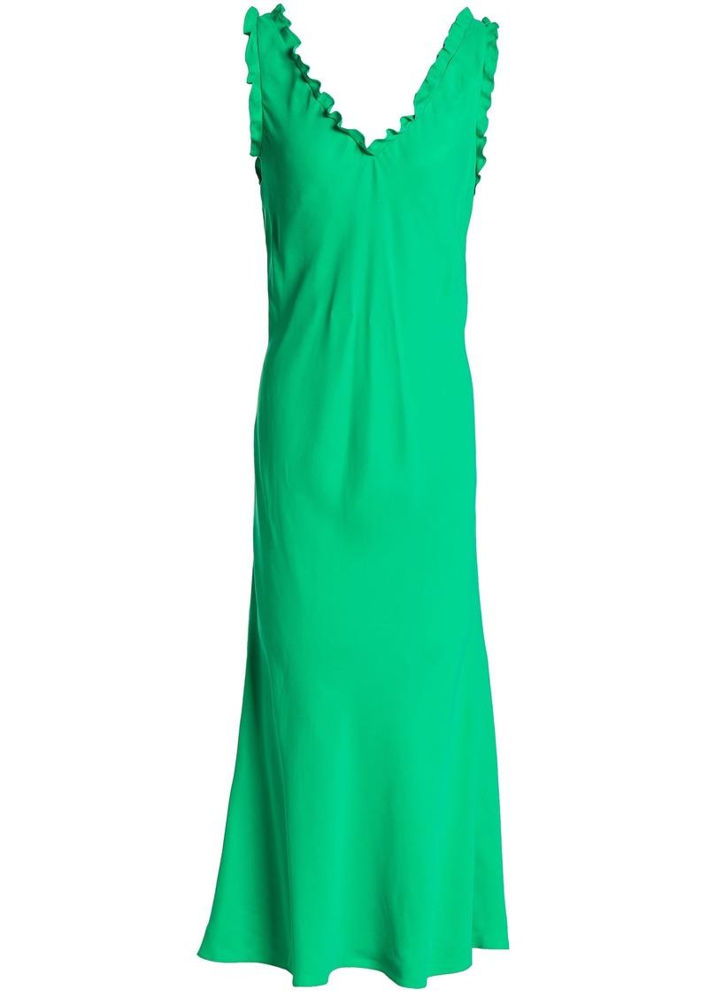 Tibi Woman Ruffle-trimmed Washed-jersey Maxi Dress Bright Green