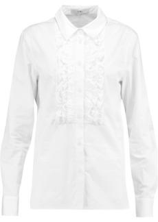 Tibi Woman Ruffle-trimmed Cotton-poplin Shirt White