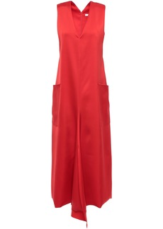 Tibi Woman Asymmetric Satin-crepe Midi Dress Tomato Red