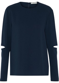 Tibi Woman Savanna Cutout Crepe Top Midnight Blue