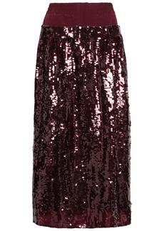 Tibi Woman Sequined Silk-crepe Midi Skirt Burgundy