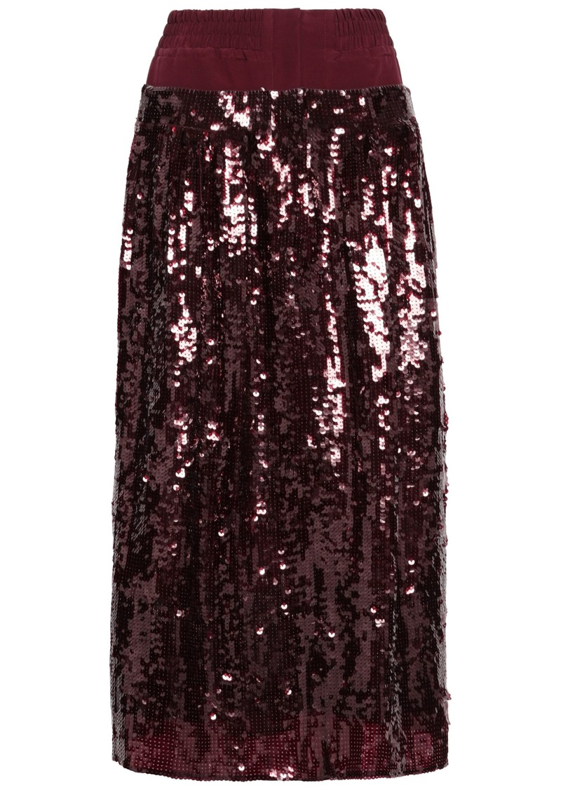 Tibi Woman Sequined Crepe Midi Skirt Burgundy