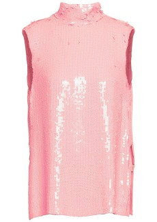 Tibi Woman Sequined Silk Top Bubblegum