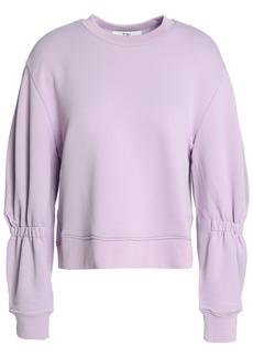 Tibi Woman Shirred French Terry Sweatshirt Lilac