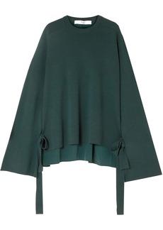 Tibi Woman Silk Crepe De Chine-paneled Merino Wool Sweater Dark Green