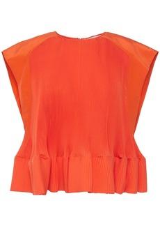 Tibi Woman Crepe De Chine-trimmed Plissé-poplin Top Orange