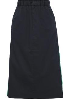 Tibi Woman Snap-detailed Cotton-poplin Skirt Navy