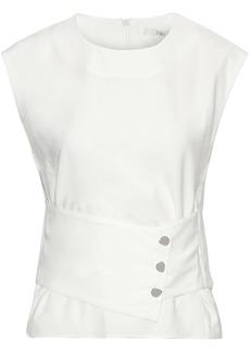 Tibi Woman Snap-detailed Twill Top White