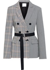 Tibi Woman Steward Double-breasted Belted Paneled Woven Blazer Gray