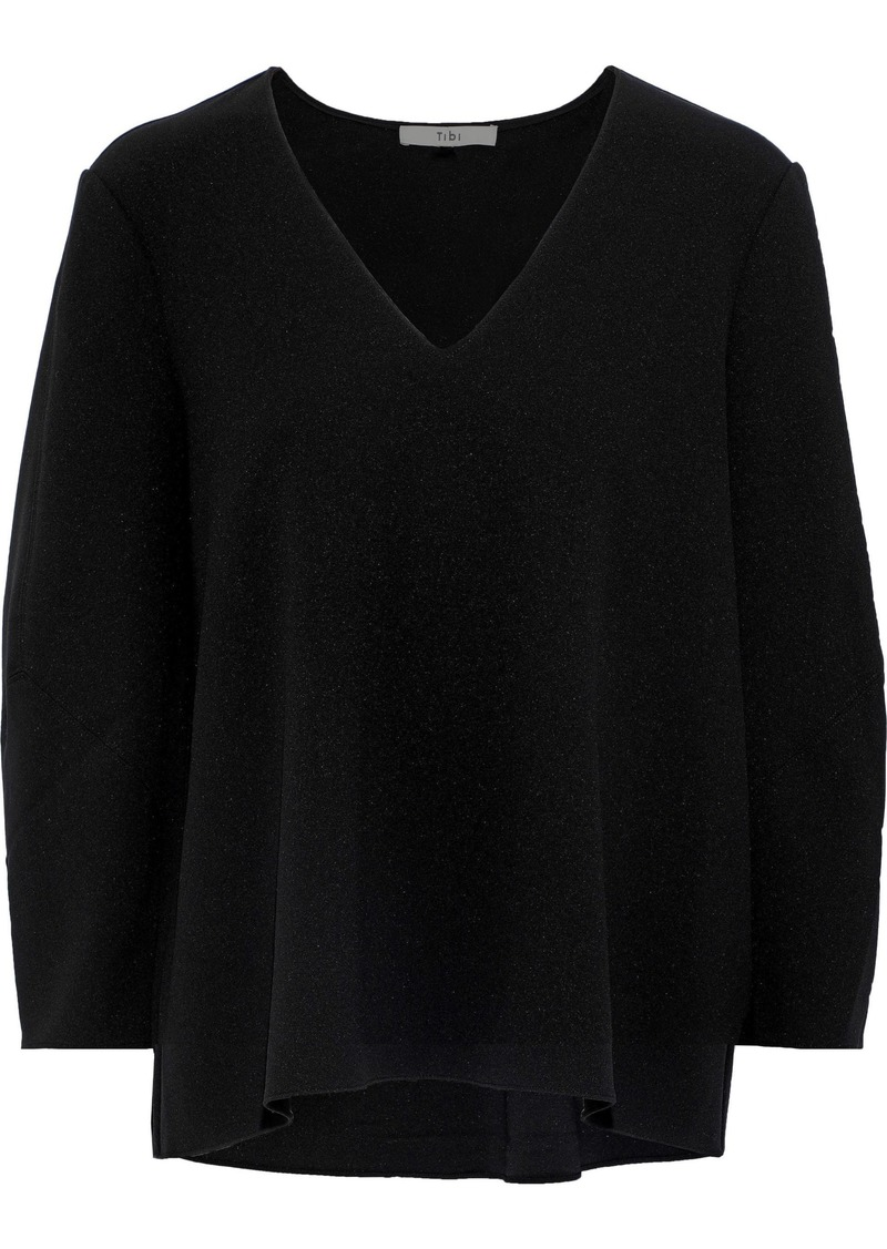 Tibi Woman Stretch-crepe Blouse Black