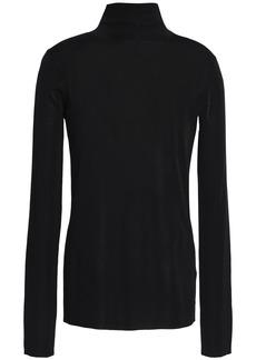 Tibi Woman Stretch-knit Turtleneck Top Black