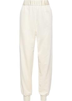 Tibi Woman Stretch-piqué Track Pants Ivory