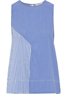 Tibi Woman Striped Cotton-blend Poplin Blouse Royal Blue