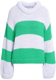 Tibi Woman Striped Cotton-blend Sweater Green