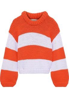 Tibi Woman Striped Cotton-blend Sweater Orange