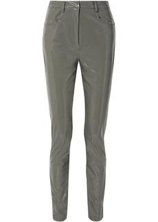 Tibi Woman Tech Vinyl Skinny Pants Gray
