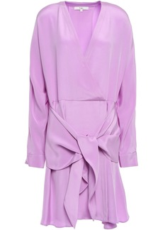 Tibi Woman Tie-front Silk-crepe Mini Dress Lavender