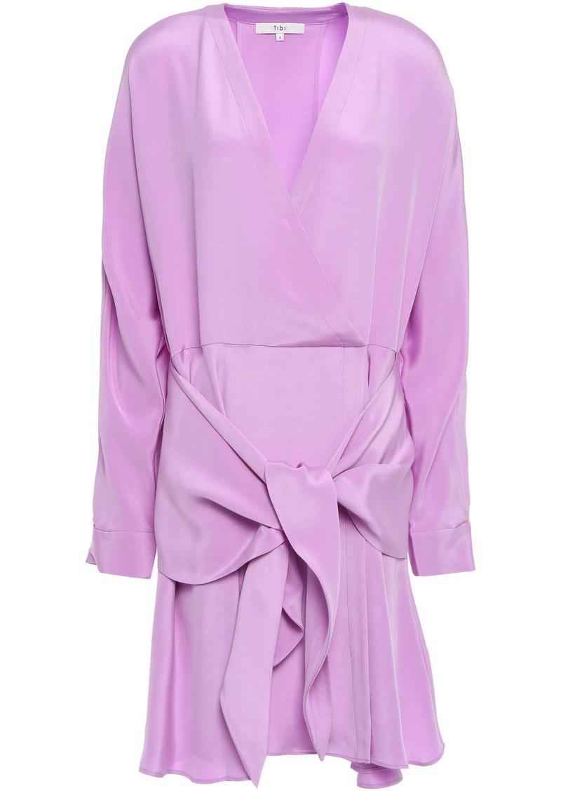 Tibi Woman Tie-front Silk-crepe Mini Dress Lavender