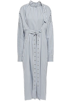 Tibi Woman Tie-front Striped Jacquard Midi Shirt Dress Light Blue