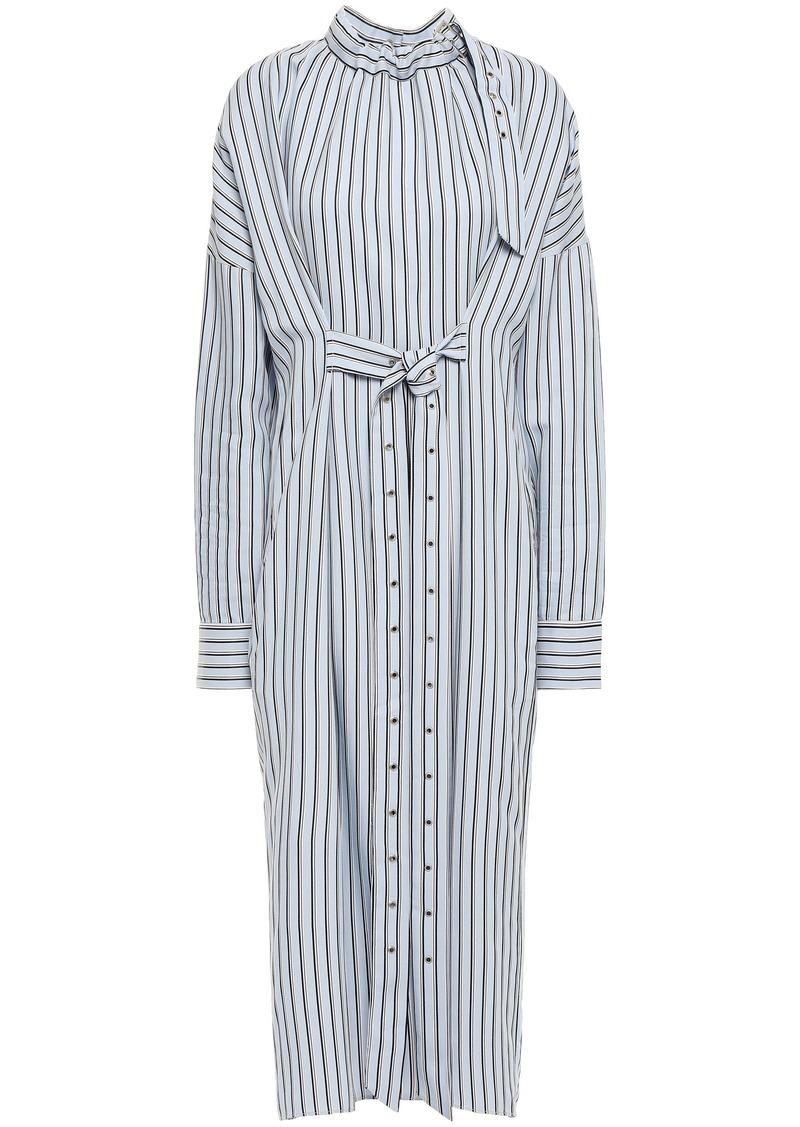 Tibi Woman Tie-front Striped Jacquard Midi Shirt Dress Light Blue