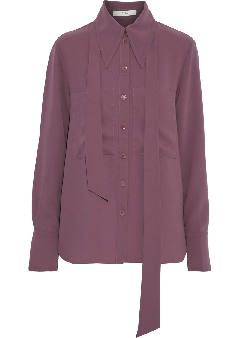 Tibi Woman Tie-neck Cady Shirt Plum