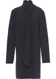 Tibi Woman Tie-neck Silk Crepe De Chine Mini Dress Midnight Blue