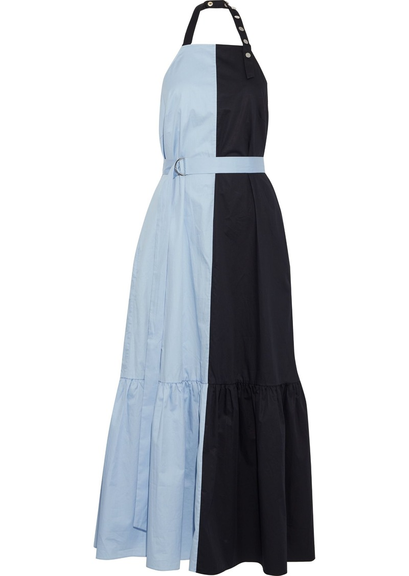 Tibi Woman Two-tone Coated Cotton-poplin Halterneck Midi Dress Light Blue