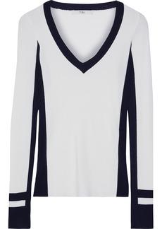 Tibi Woman Two-tone Ribbed-knit Sweater Ivory