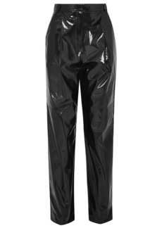 Tibi Woman Vinyl Tapered Pants Black