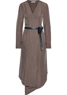 Tibi Woman Walden Wrap-effect Checked Satin-twill Midi Dress Brown