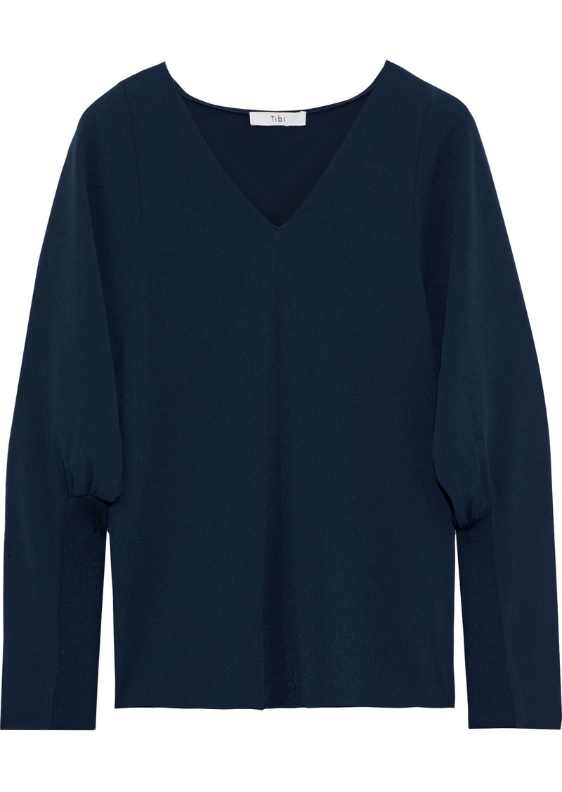 Tibi Woman Washed-crepe Top Midnight Blue