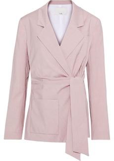 Tibi Woman Wool-blend Wrap Jacket Blush