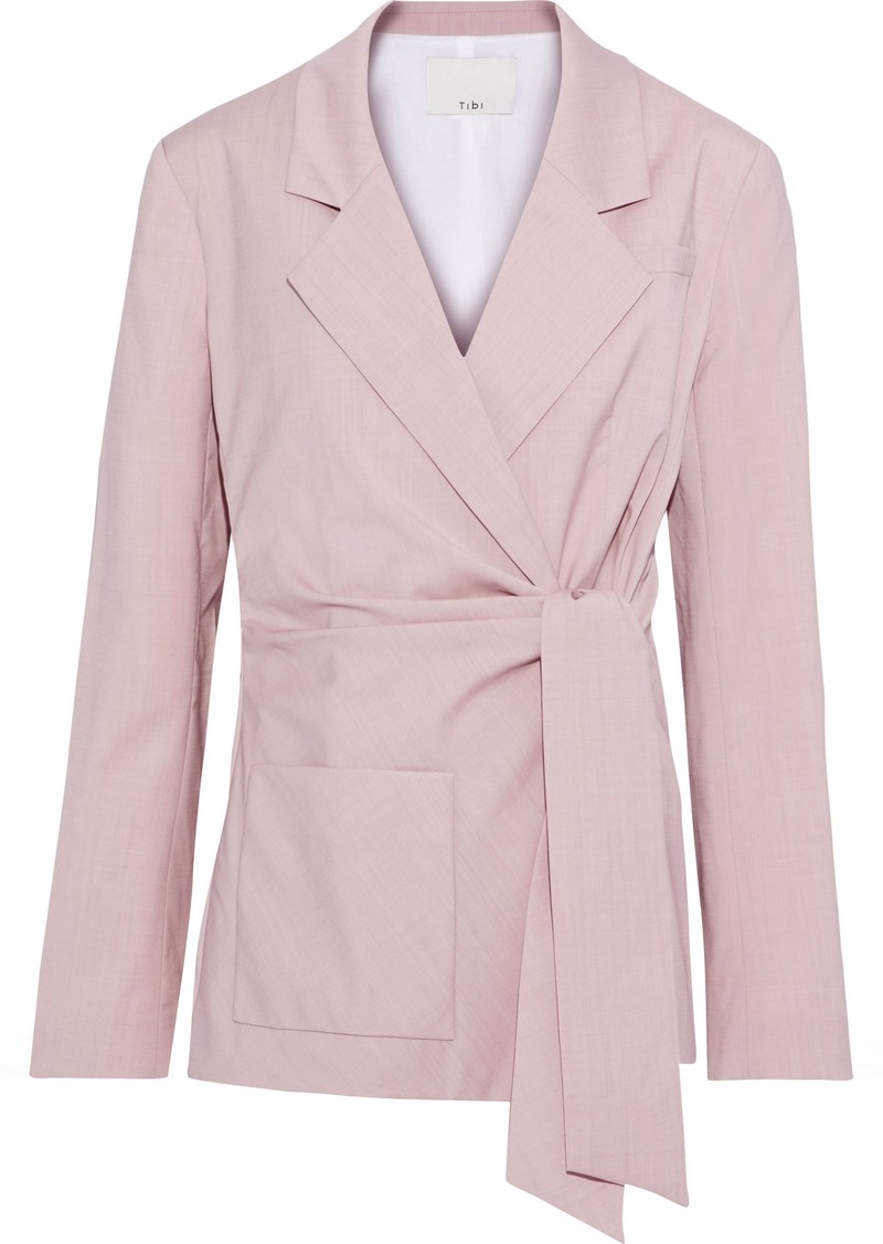 Tibi Woman Wool-blend Wrap Jacket Blush