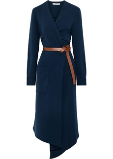 Tibi Woman Wrap-effect Belted Canvas Midi Dress Navy
