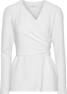 Tibi Woman Wrap-effect Ruched Stretch-crepe Top White