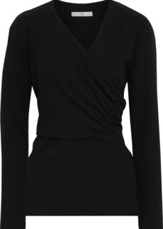 Tibi Woman Wrap-effect Ruched Stretch-crepe Top Black