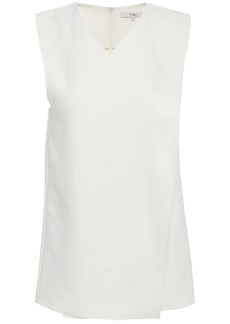 Tibi Woman Wrap-effect Stretch-cady Top Ivory