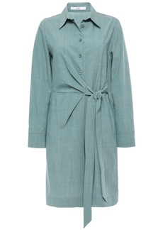 Tibi Woman Wrap-effect Stretch-wool Playsuit Grey Green