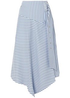 Tibi Woman Wrap-effect Striped Poplin Midi Skirt Blue