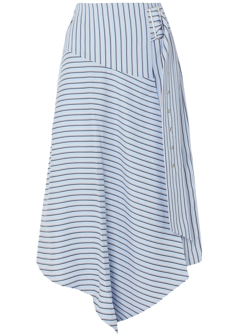 Tibi Woman Wrap-effect Striped Poplin Midi Skirt Blue