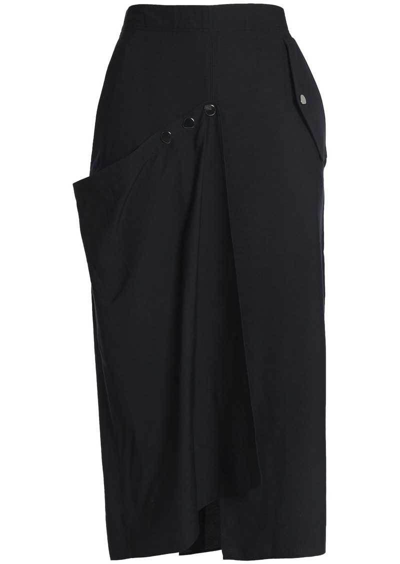 Tibi Woman Wrap-effect Twill Midi Skirt Black