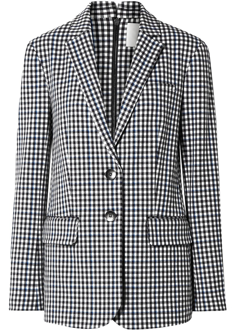 Tibi Woman Zip-detailed Gingham Twill Blazer Black