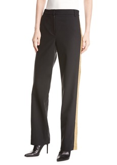 Tibi Wool-Blend Embellished Tux Straight-Leg Pants