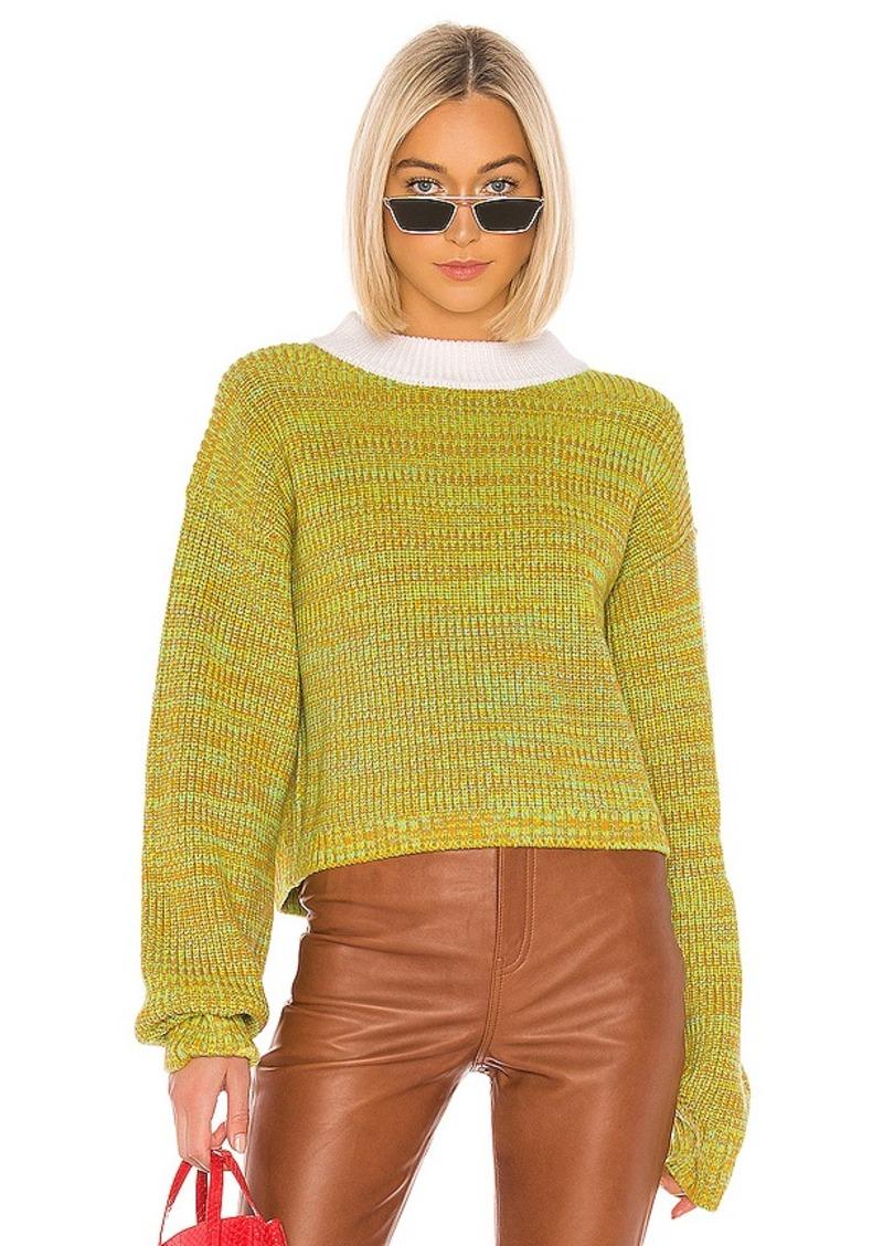 Tibi Wool Tweedy Cropped Crewneck Sweater